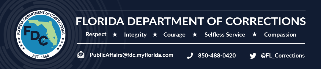 Florida Department of Corrections Banner, Secretary Mark S. Inch